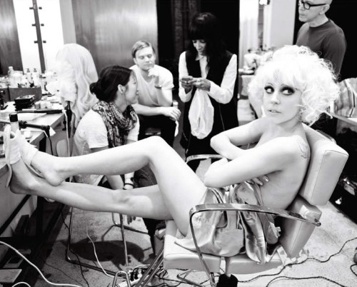 Lady Gaga behind the scenes