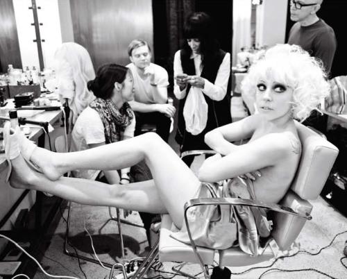 Lady Gaga behind the scenes